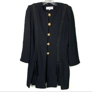 St.John Black Tassel Santana Knit Blazer Sz 10 A84